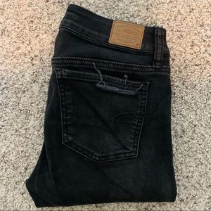 American Eagle Outfitters black distressed denim